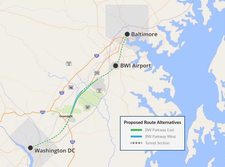Washington DC Baltimore Maglev Route Map