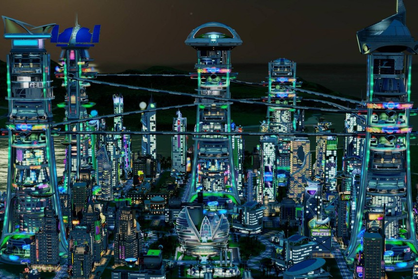 Futuristic city with maglev lines