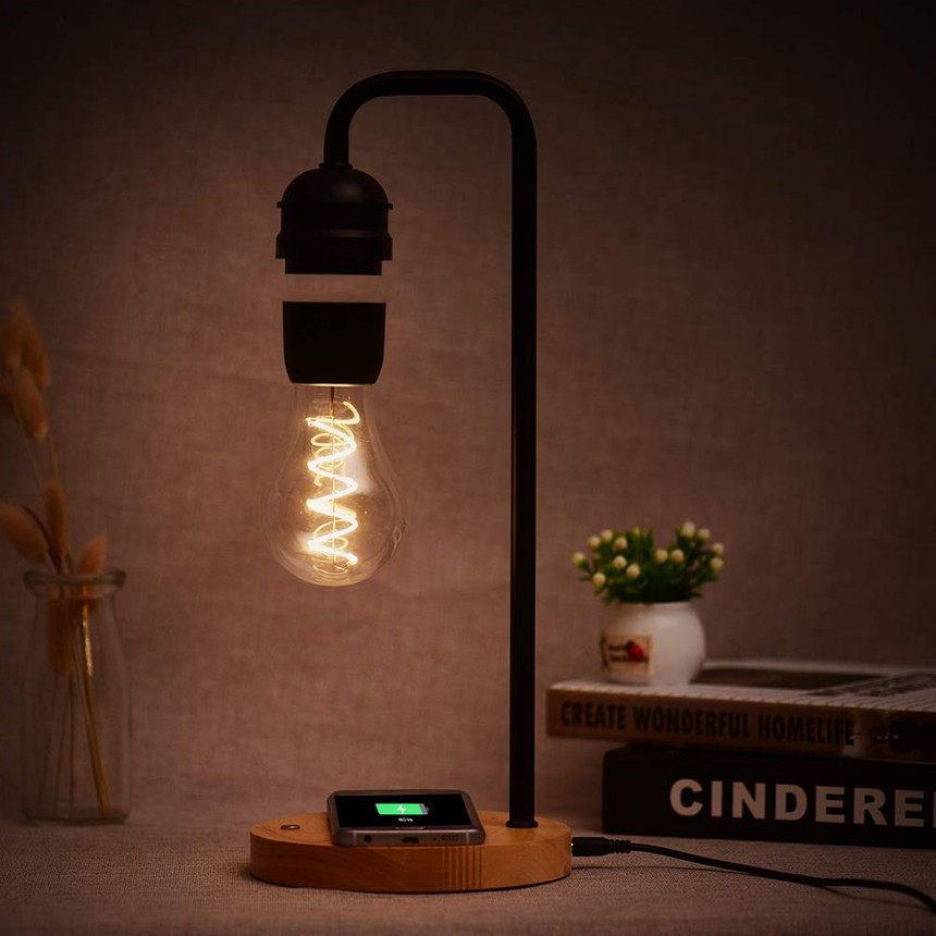 Table Lamp with Floating Light Bulb