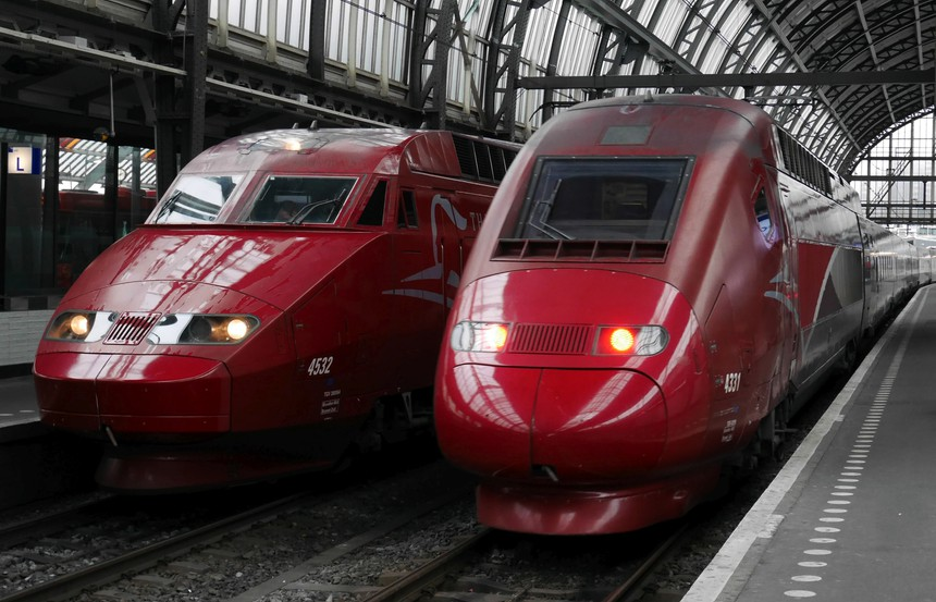 Netherlands Amsterdam Centraal Station Two generations of Thalys Alstom high-speed trains