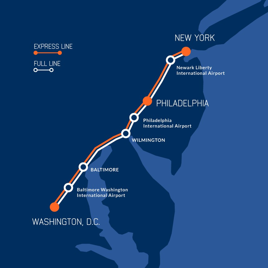 The Northeast Maglev line map