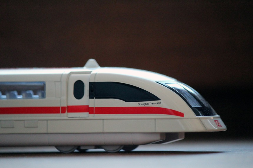 Transrapid 08 maglev model with the doors open
