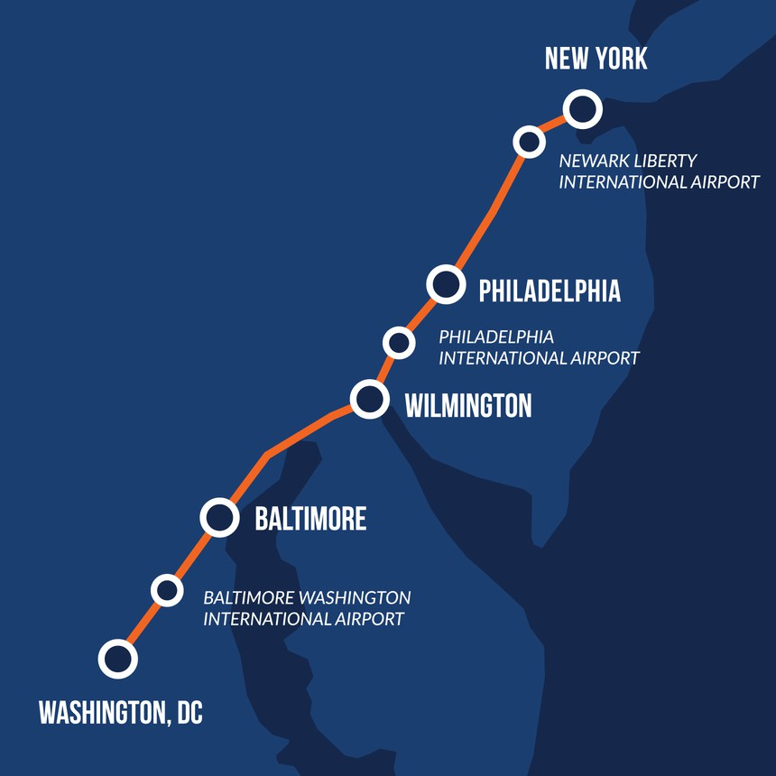 Washington to New York Maglev Route Map