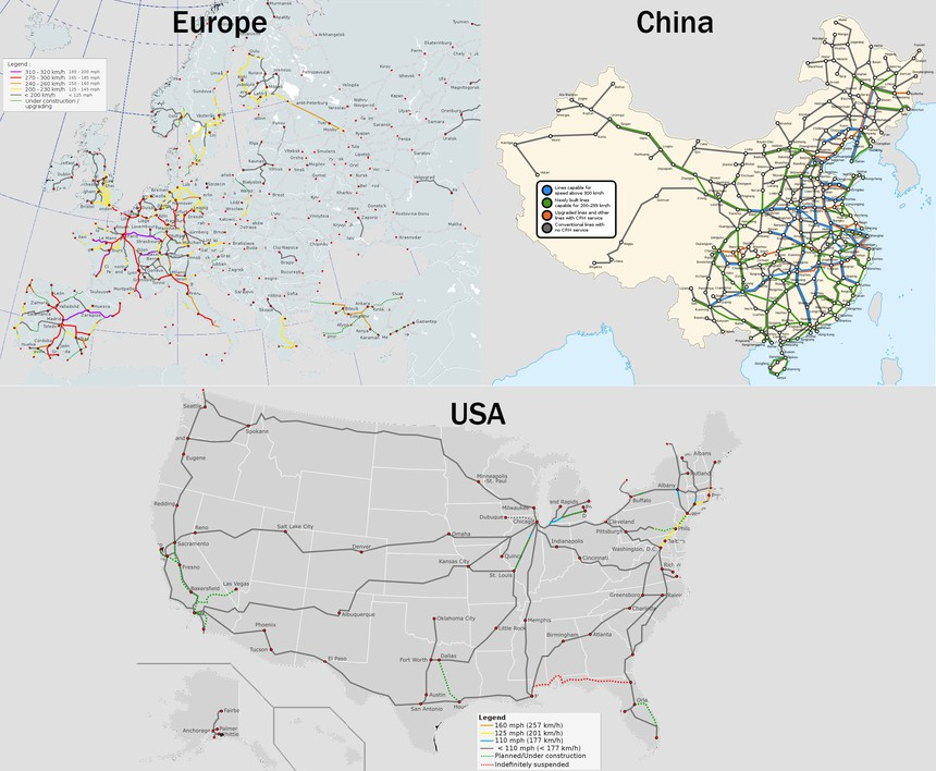 USA Europe China High Speed Rail Map