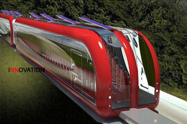 Solar Powered Maglev Train