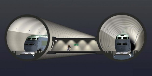 Maglev tunnels with maglev trains inside and corridor between the tunnels